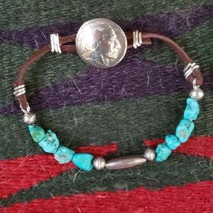 Turquoise Leather Bracelet Navajo Beads & …